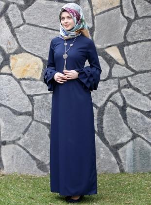 Larissa Fırfırlı Elbise - Lacivert