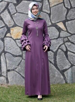 Larissa Fırfırlı Elbise - Mor