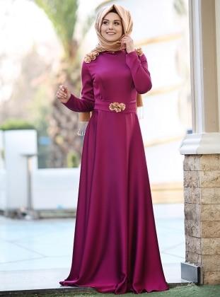 Puqqa Madam Abiye Elbise - Fuşya