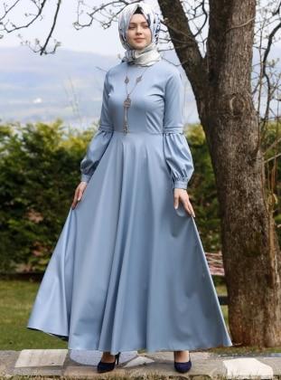 Kübra Biriktir Nil Kloş Elbise - Mavi