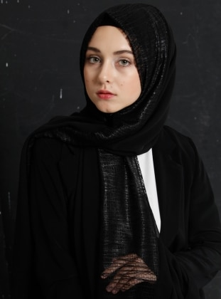 Black - Plain - Chiffon - Shawl