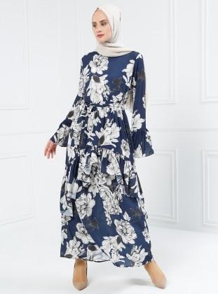 Volan Detaylı Desenli Elbise - Lacivert