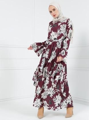 Volan Detaylı Desenli Elbise - Mürdüm