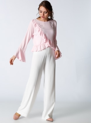 Yüksek Bel Bol Paça Pantolon - Ekru