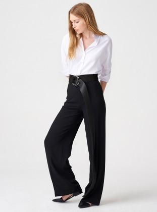 Yüksek Bel Bol Paça Pantolon - Siyah