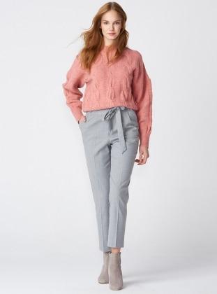 Yüksek Bel Çizgili Pantolon - Gri