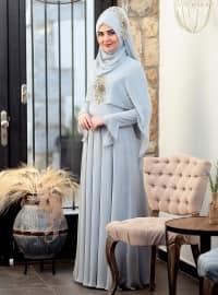 Nur Abiye Elbise - Mavi - SomFashion