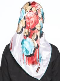 Ecru - Multi - Floral - Printed - Voile - Scarf