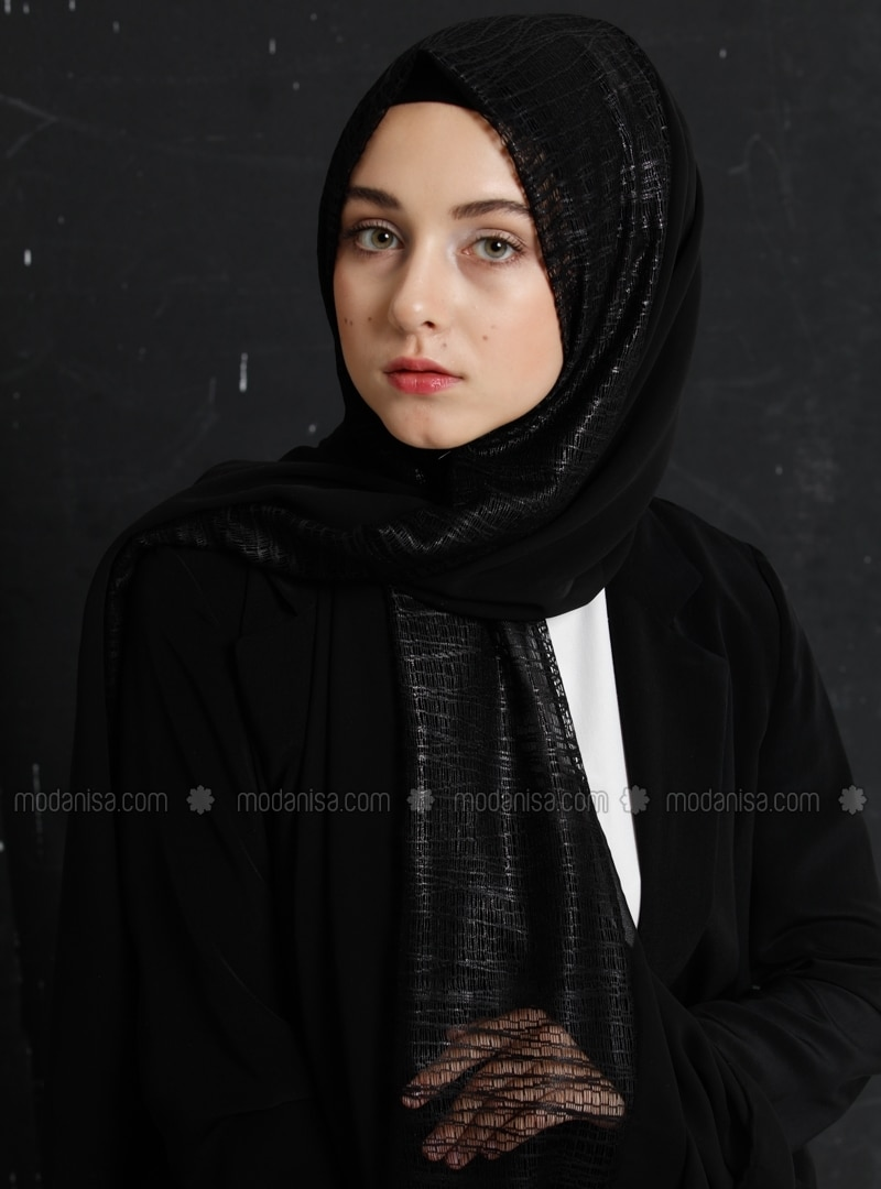 Black - Plain - Chiffon - Shawl - Eşarp