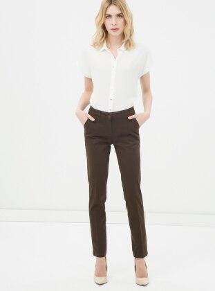Boru Paça Pantolon - Kahverengi