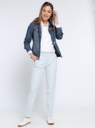 Boru Paça Pantolon - Mavi