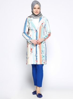 Desenli Uzun Ceket - Mercan Mavi