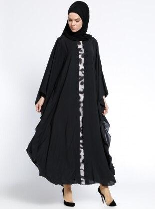 Garnili Ferace Elbise - Siyah Antrasit