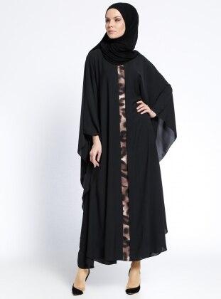 Garnili Ferace Elbise - Siyah Camel