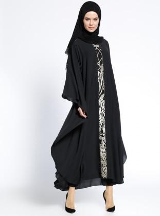 Garnili Ferace Elbise - Siyah Gold