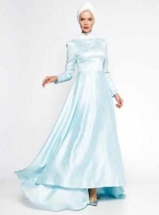 AGONYA MODA Jakarlı Abiye Elbise - Bebe Mavisi