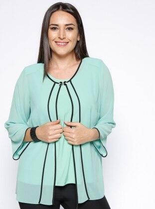 Kolsuz Bluz&Şifon Ceket İkili Takım - Su Yeşili Kifayet