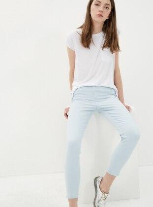Yüksek Bel Kot Pantolon - Mavi