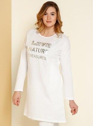 Natürel Kumaşlı Baskılı Tunik - Beyaz Alia
