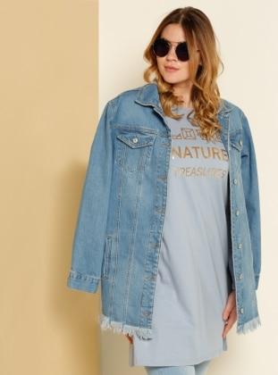 Natürel Kumaşlı Baskılı Tunik - Mavi Alia