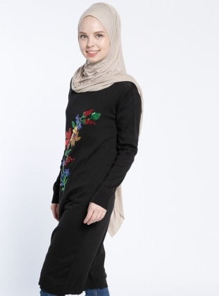 Payetli Triko Tunik - Siyah