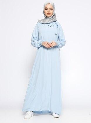 Yakası Büzgülü Elbise - Mavi