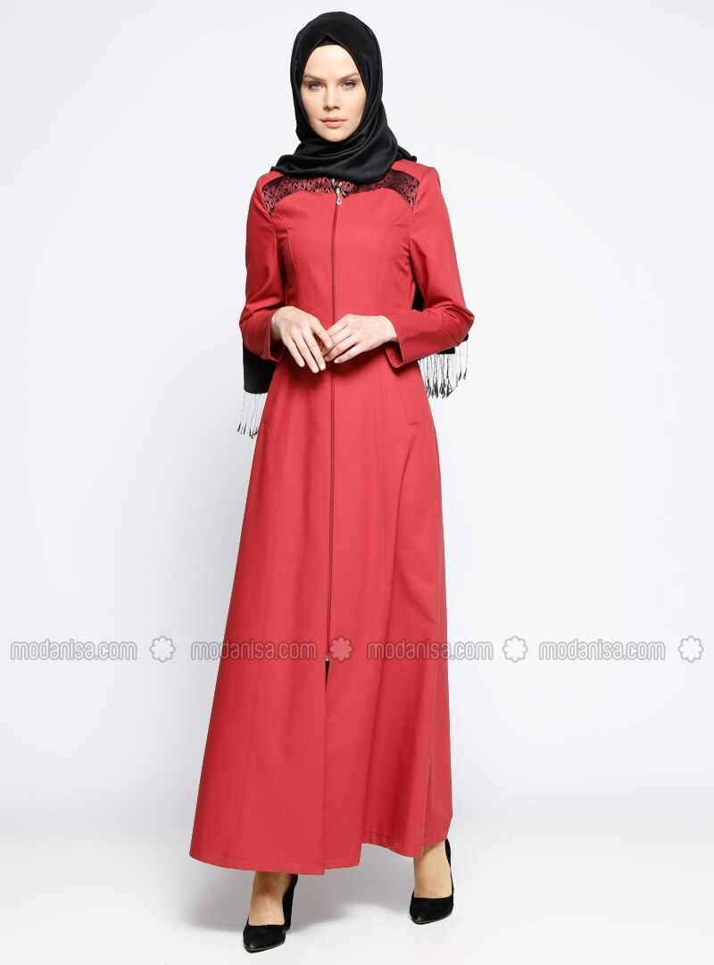 Red - Unlined - Crew neck - Abaya