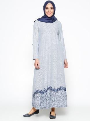 Desenli Elbise - Açık Mavi