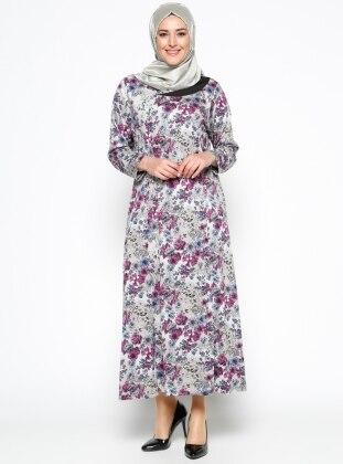 Desenli Elbise - Gri Fuşya
