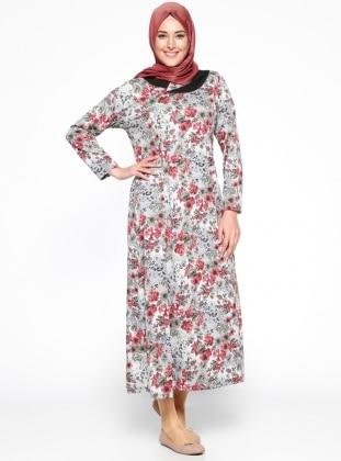 Çiçek Desenli Elbise - Gri Gül