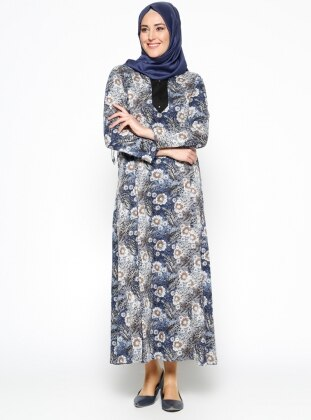 Neslihan Triko Desenli Elbise - Lacivert
