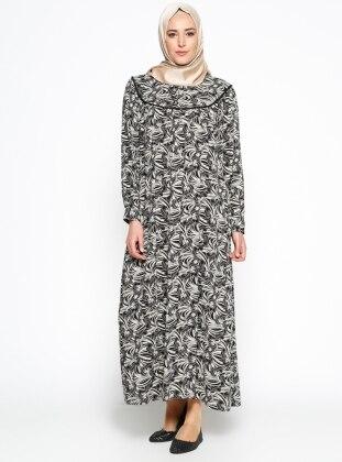 Desenli Elbise - Siyah