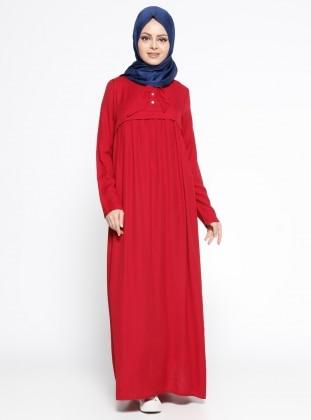 Keten Arkası Nakışlı Elbise - Kırmızı