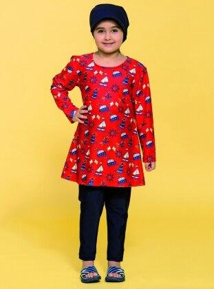 Kız Çocuk Tam Kapalı Mayo - Kırmızı Haşema