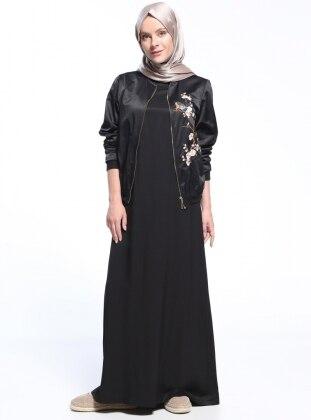 Naturel Kumaşlı Kolsuz Elbise - Siyah Benin