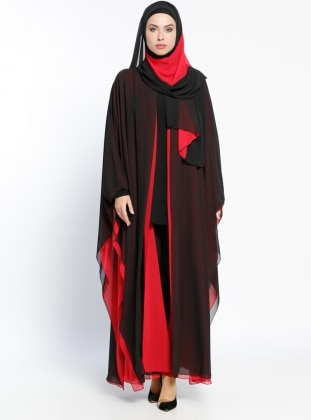 Şifon Abaya - Kırmızı Siyah