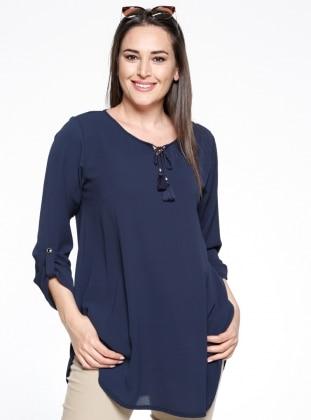 Navy Blue - Crew neck - Plus Size Tunic - Genç Style 286540