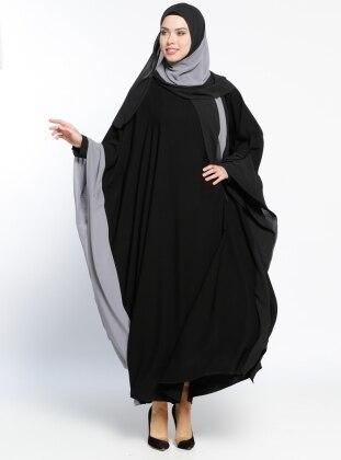 Garnili Abaya - Gri Siyah
