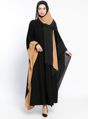 Garnili Abaya - Vizon Siyah