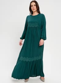 Green - Unlined - Crew neck - Plus Size Dress - BAGİZA