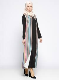 Unlined - Stripe - Black - Petrol - Crew neck - Abaya