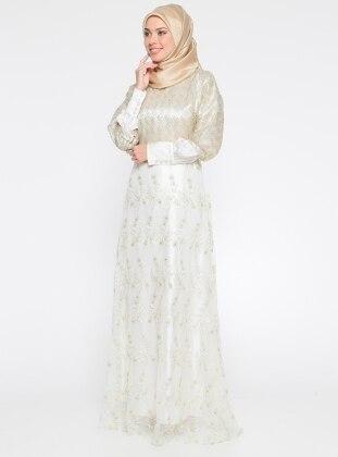Dantel Detaylı Abiye Elbise - Gold