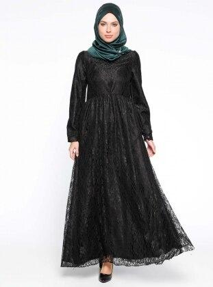 Dantel İşlemeli Abiye Elbise - Siyah