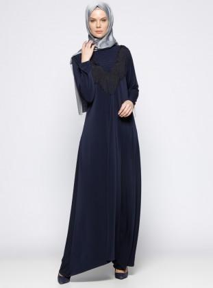 İncili Elbise - Lacivert