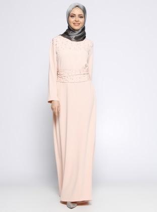 İncili Elbise - Pudra
