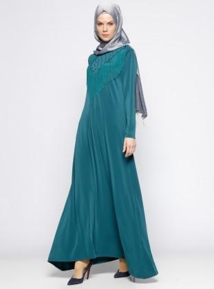 Eflatun İncili Elbise - Yeşil