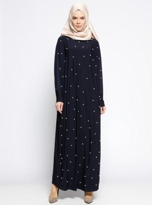 İncili Salaş Elbise - Lacivert