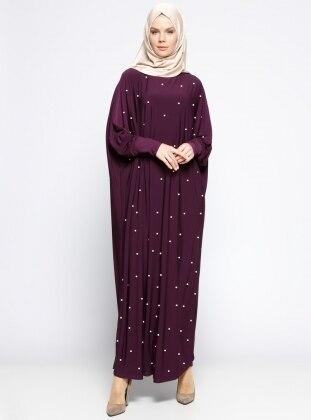 İncili Salaş Elbise - Mürdüm