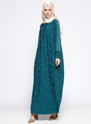 İncili Salaş Elbise - Yeşil