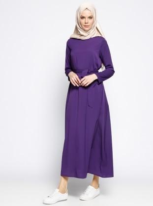 Kemerli Elbise - Mor Dadali